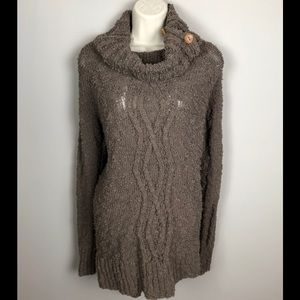 Anthropologie Moth Brown Cowl Neck Sweater